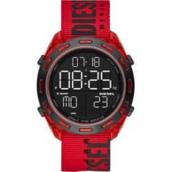 Diesel Men's Digital Crusher Red Nylon Strap Watch 46mm found on Bargain Bro India from Macy's for $140.00