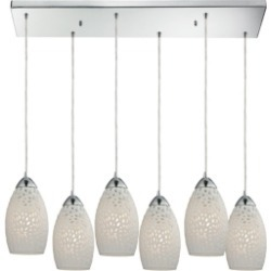 Etched Glass Light Pendant in Polished Chrome