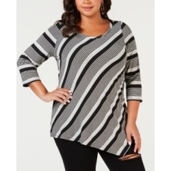 Ny Collection Plus Size Striped Asymmetrical Top found on Bargain Bro India from Macys CA for $25.64