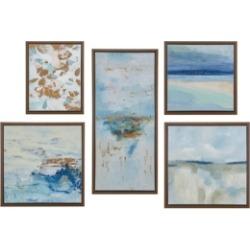 Madison Park Blue Horizon Gallery Art with Bronze Frame Set of 5