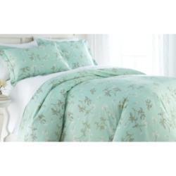 Southshore Fine Linens Forget Me Not Cotton Reversible 3 Piece Duvet Cover and Sham Set, King Bedding