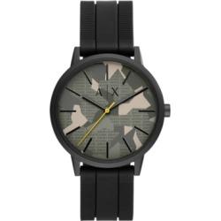 AX Armani Exchange Men's Cayde Black Silicone Strap Watch 42mm