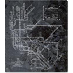 Oliver Gal Ny Subway Map Dark Rustic Canvas Art, 24