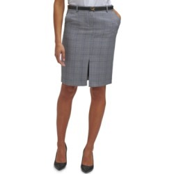 Calvin Klein Belted Plaid Pencil Skirt found on Bargain Bro from Macy's for USD $67.64
