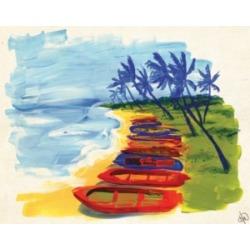 "Creative Gallery Banoi Boats on the Beach 36"" x 24"" Canvas Wall Art Print"