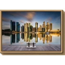 Amanti Art Golden Morning in SIngapore by Zexsen Xie Canvas Framed Art