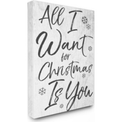"""Stupell Industries All I Want For Christmas is You Canvas Wall Art, 24"""" x 30"""""""