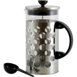 Mr. Coffee Polka Dot Brew 32 Ounce Silver Glass Coffee Press with Scoop