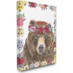 Stupell Industries Flower Friends Bear Canvas Wall Art, 30
