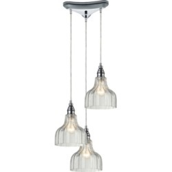 Danica 3 Light Pendant in Polished Chrome and Clear Glass