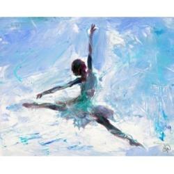 "Creative Gallery Grande Jete Ballerina in Blue Abstract 36"" x 24"" Canvas Wall Art Print"