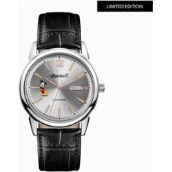 New Haven Mickey Mouse Automatic with Stainless Steel Case, Silver Dial and Black Leather Strap