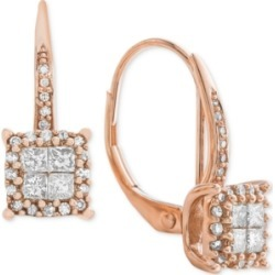 Diamond Cluster Drop Earrings (1/2 ct. t.w.) in 14k White Gold (Also Available in 14k Rose Gold & 14k Yellow Gold)