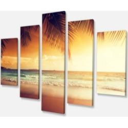 "Designart Palm Leaves On Caribbean Canvas Art - 60"" X 32"" - 5 Panels"
