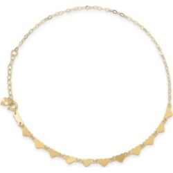 Anklet Oval and Hearts Chain Anklet in 14k Yellow Gold