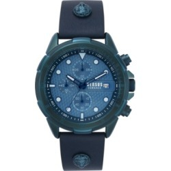 Versus by Versace Men's Chronograph 6E Arrondissement Blue Leather Strap Watch 46mm found on Bargain Bro Philippines from Macy's for $250.00