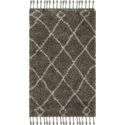 Safavieh Moroccan Fringe Shag Gray and Cream 3' X 5' Area Rug found on Bargain Bro from Macy's for USD $182.40