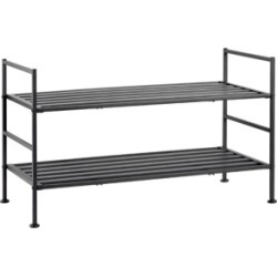 Home Basics 2 Tier Metal Shoe Rack
