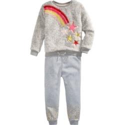 Epic Threads Little Girls Faux-Fur Rainbow Star Sweatshirt Set, Created For Macy's