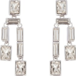 Grace Kelly Collection Rhodium Plated Twin Drop Clip On Earring