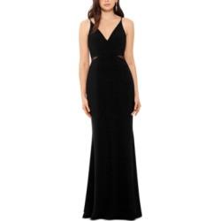 Xscape V-Neck Mesh-Detail Gown