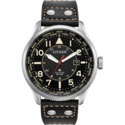 Citizen Eco-Drive Men's Promaster Nighthawk Black Leather Strap Watch 44mm
