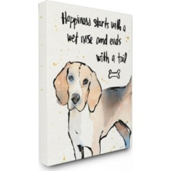 """Stupell Industries Happiness is a Wet Nose and a Tail Canvas Wall Art, 24"""" x 30"""""""