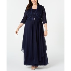 R & M Richards Plus Size Embellished Gown & Lace Jacket found on Bargain Bro from Macy's Australia for USD $111.40