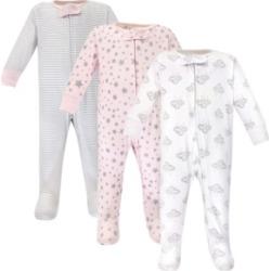Hudson Baby Zipper Sleep N Play, Cloud Mobile Pink, 3 Pack, 3-6 Months