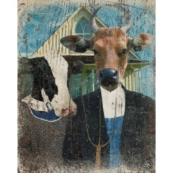 """Creative Gallery American Gothic Cows Funny 36"""" x 24"""" Canvas Wall Art Print"""
