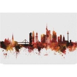 "Michael Tompsett Frankfurt Germany Skyline Red Canvas Art - 20"" x 25"""