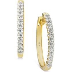 """Diamond Medium Hoop Earrings (1 ct. t.w.) in 10K white gold (Also available in 10k gold), 1.2"""""""