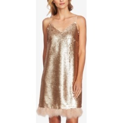 CeCe Sequined Feather-Trim Slip Dress