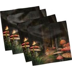 """Ambesonne Mushroom Set of 4 Napkins, 12"""" x 12"""""""