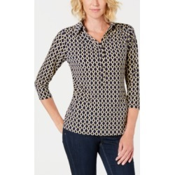 Charter Club Floral-Print V-Neck Polo Shirt, Created for Macy's found on MODAPINS from Macys CA for USD $26.06