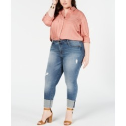 Seven7 Jeans Plus Size High-Rise Tower Straight-Leg Ankle Jeans