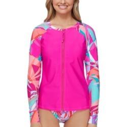 Raisins Juniors' Curitiba Printed-Sleeve Rash Guard Women's Swimsuit found on MODAPINS from Macy's for USD $46.00