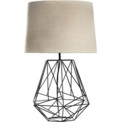 American Art Decor Toby Geometric Cage Table Lamp with Drum Shade