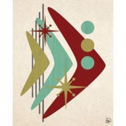 "Creative Gallery Retro Boomerang Fish in Mint, Olive Rust 24"" x 20"" Canvas Wall Art Print"