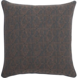 "Jaipur Living Tabitha Brown/ Indigo Geometric Poly Throw Pillow 18"""