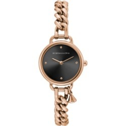 Bcbgmaxazria Ladies Round Rose Goldtone Stainless Steel Chain Bracelet with Crystal Charm Watch, 26mm
