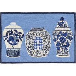 Liora Manne Front Porch Indoor/Outdoor Ginger Jars Blue 2' x 3' Area Rug