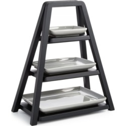 Closeout! Hotel Collection Modern Wood 3-Tier Server with Porcelain Plates, Created for Macy's