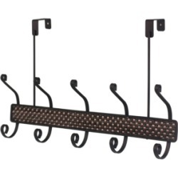 Home Basics Bronze Over the Door 5 Hook Hanging Rack, Bronze