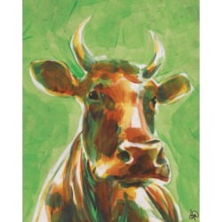 """Creative Gallery Audelia the Happy Cow in Green 36"""" x 24"""" Canvas Wall Art Print"""