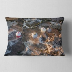 "Designart Flight With Balloons At Sunrise Landscape Printed Throw Pillow - 12"" X 20"""