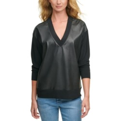 Dkny Faux-Leather-Front Sweatshirt found on MODAPINS from Macy's for USD $99.00