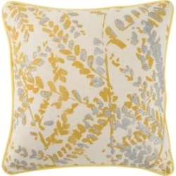 """Luli Sanchez By Jaipur Living Corrine Yellow/Silver Floral Poly Throw Pillow 18"""""""