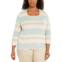 Alfred Dunner Plus Size Cottage Charm Square Neck Sweater