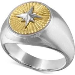 Esquire Men's Jewelry Two-Tone North Star Ring in Sterling Silver & 14k Gold-Plate, Created For Macy's